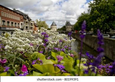 Kortrijk Tower Bridge Flowers In Foreground Belgium