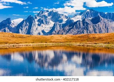 Koruldi Lake at the foot of Greater Caucasus range in Upper Svaneti region, Georgia