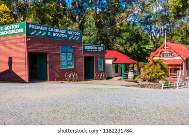 Korumburra Victoria Australia 09.17.2018 at Coal Creek. Community Park &Museum. Old Buildings Macqueen's birder's shop &