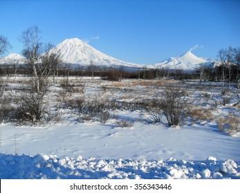 "Koryak and Avacha volcanoes, often referred to as ""home"", near the city of Petropavlovsk-Kamchatsky and Elizovo, Kamchatka."