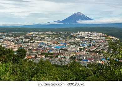 Koryakskaya Sopka and Petropavlovsk-Kamchatsky from the Mishennaya hills