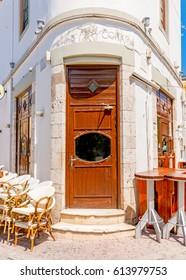 KOS, GREECE - AUG 23, 2014:  Very old building as a Bar in Kos town in Kos island in Greece.