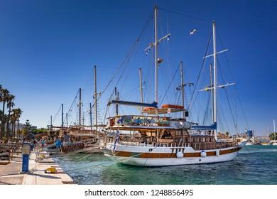 Kos, Greece - July 16, 2018. A Sailing boat moored in the Greek island of Kos, South Aegean region, Greece.