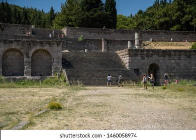 Kos, Greece - July 5th 2019: Asklepieion, ancient greek sanatorium dedicated to Asclepius, the god of medicine.
