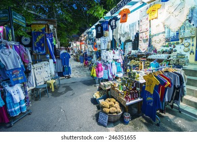 KOS, GREECE - JUNE 6, 2014: Streets of Zia on a beautiful night on the top of island mountain. Zia is a famous tourist attraction and has the best sunset view of Kos.