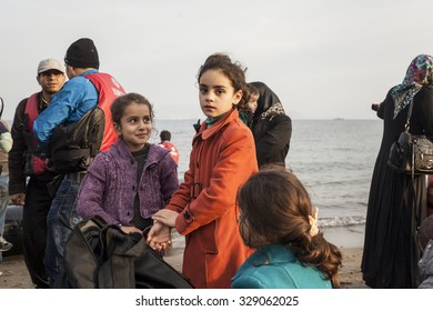 Kos, Greece - October 17, 2015: Children after arrival on the greek coast.