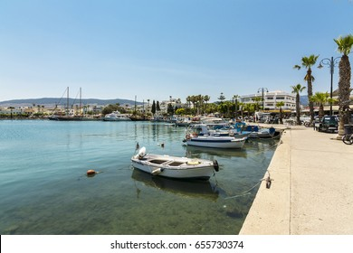 Kos Island, Greece - June 02, 2017 : Kos Town harbour view in Kos Island. Kos Island is popular tourist destination in Aegean Sea.