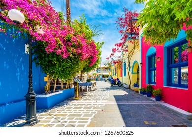 Kos Island, Greece - June 04, 2017 : Beautiful street view in Kos Island. Kos Island is populer tourist destination in Greece.