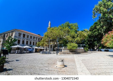 Kos, Square in front of the Hippocratic Tree and Mosque of Gazi Hassan Pasha. Kos Island, Greece
