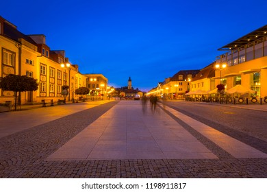 Kosciusko Main Square with Town Hall in Bialystok at night, Poland.
