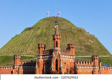 Kosciuszko Mound in city of Krakow, Poland, city landmark from 1823, dedicated to Polish and American military hero Tadeusz Kosciuszko.