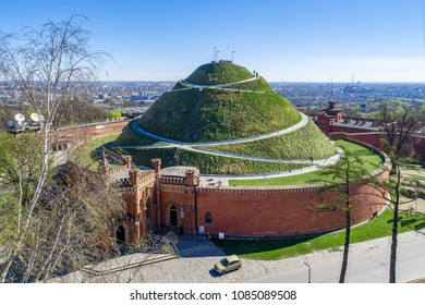 Kosciuszko Mound (Kopiec Kosciuszki). Krakow landmark, Poland. Erected in 1823 to commemorate Tadeusz Kosciuszko. Surrounded by a citadel built by Austrian Administration about 1850. Aerial view