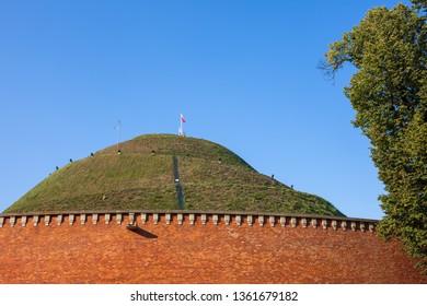 Kosciuszko Mound in Krakow, Poland, city landmark from 1823, dedicated to Polish and American military hero Tadeusz Kosciuszko