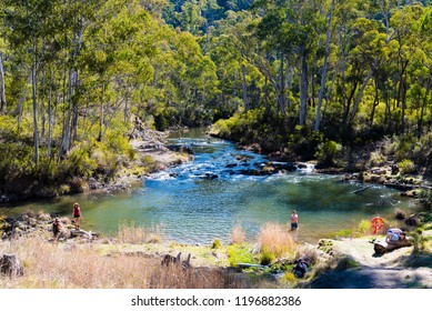 Kosciuszko National Park, NSW, Australia - September 30, 2018 : River at Yarrangobilly Caves' thermal pool is fed by a natural spring in Yarrangobilly area, Kosciuszko National Park, NSW, Australia