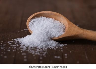Kosher Salt Spilled from a Teaspoon