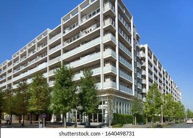 Koshigaya, Saitama / Japan-November 1, 2019: Large apartments in Koshigaya Laketown. Koshigaya Lake Town is a newly built large residential area near Tokyo