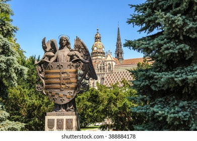 Kosice Coat of arms with St. Elisabeth Cathedral helmet and tower in the backround