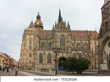 KOSICE - October 20, 2016. St. Michael chapel and St. Elisabeth cathedral in the main square of Kosice city in eastern Slovakia