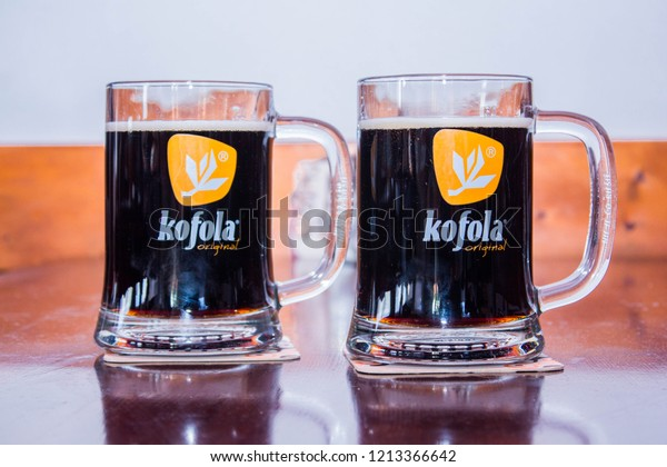Kosice, Slovakia - 04 October 2018: Kofola Chilled Non Alcoholic Drink on Table Top in Restaurant