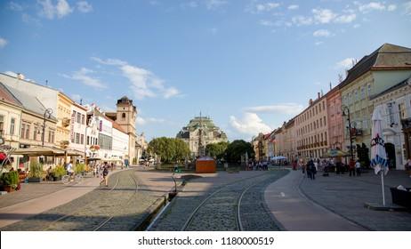 Kosice, Slovakia - 08.16.2018: Hlavna street in Kosice old town, Slovakia, Europe