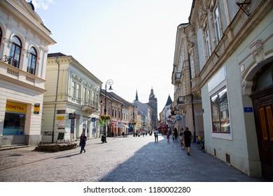 Kosice, Slovakia - 08.16.2018:  Mlynska street in Kosice old town, Slovakia, Europe