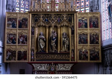 KOSICE, SLOVAKIA - 10 FEBRUARY, 2017; The Main Altar of Saint Elisabeth Photo Taken in St. Elisabeth Cathedral.  Set of 48 paintings in three themed cycles – Elizabethan, the Passion and the Advent.