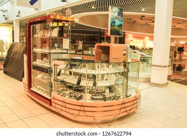 Kosice, Slovakia - 20 December 2018: SilverJewelry Conter in Rental Space at Shopping Counter Optima