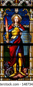 Kosice, Slovakia. 2019/7/5. Stained glass window depicting Saint Michael the Archangel in the Cathedral of St Elisabeth (Dom Svatej Alzbety).