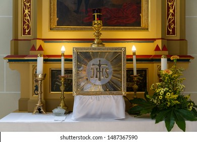 Kosice, Slovakia. 2019/7/5. The tabernacle with the Eucharist in the Cathedral of St Elisabeth (Dom Svatej Alzbety).