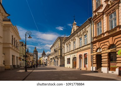 KOSICE, SLOVAKIA - APRIL 15, 2017: Street in the center of the city. Kosice is the 2nd largest city in Slovakia with 555,800 people living in metro area.