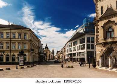 KOSICE, SLOVAKIA - APRIL 15, 2017: Street in the center with the Elisabeth cathedral. Kosice is the 2nd largest city in Slovakia with 555,800 people living in metro area.