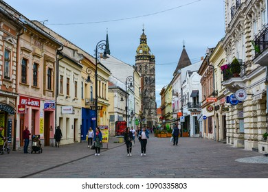 Kosice, Slovakia - April 26, 2018: People walking at Mlynska street, near St Elisabeth Cathedral