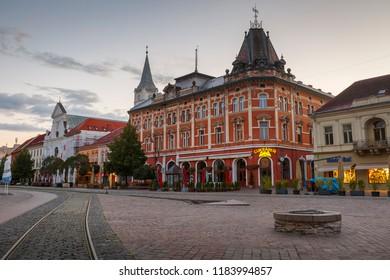 Kosice, Slovakia - August 12, 2018: Neo-Renaissance Andrassy Palace in the main square of Kosice city in eastern Slovakia.