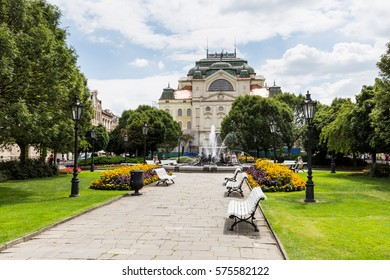 KOSICE, SLOVAKIA - AUGUST 3, 2016: View of the State Theatre in the old town part of Kosice in Slovakia on August 3, 2016. Its the second biggest city in Slovakia and located in the south east.
