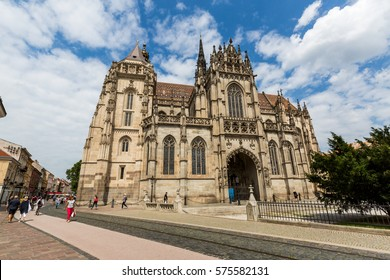 KOSICE, SLOVAKIA - AUGUST 3, 2016: View of St. Elisabeth Cathedral in the old town part of Kosice in Slovakia on August 3, 2016. Its one of the easternmost Gothic cathedrals in Europe.