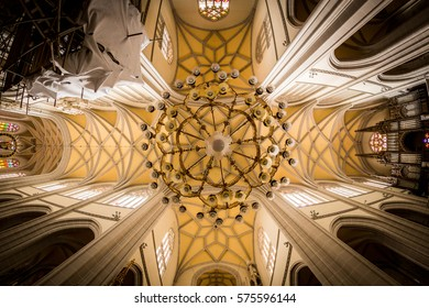 KOSICE, SLOVAKIA - AUGUST 3, 2016: Interior view of St. Elisabeth Cathedral in the old town part of Kosice in Slovakia on August 3, 2016. Its one of the easternmost Gothic cathedrals in Europe.