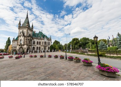 KOSICE, SLOVAKIA - AUGUST 3, 2016: View of Jakabov Palace in the old town part of Kosice in Slovakia on August 3, 2016. Kosice is the second biggest city in Slovakia and located in the south east.