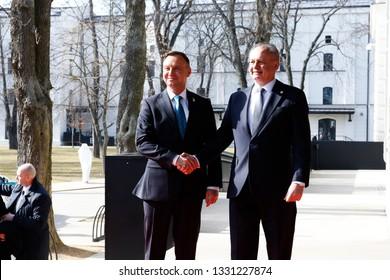 Kosice Slovakia - February 28, 2019: President of Slovakia Andrej Kiska and President of Poland Andrzej Duda at the Bucharest Nine Summit