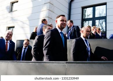 Kosice Slovakia - February 28, 2019: President of Poland Andrzej Duda at the Bucharest Nine Summit