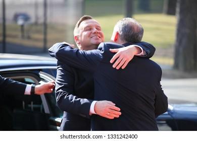 Kosice Slovakia - February 28, 2019: President of Poland Andrzej Duda and president of Slovakia Andrej Kiska at the Bucharest Nine Summit