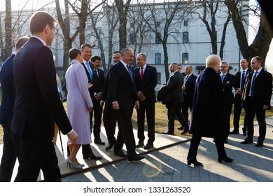 Kosice Slovakia - February 28, 2019: President of Romania Rumen Radew, president of Poland Andrzej Duda, Presidents of HungaryJanos Ader and president of Slovakia Andrej Kiska at the Bucharest Nine