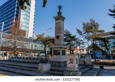 Kosice Slovakia - February 28, 2019:  Monument to Soviet soldiers liberators. On the monument there is an inscription in Russian: Eternal Glory to the heroes who fell in battles for freedom