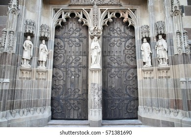 Kosice, Slovakia - gate to St. Elisabeth Cathedral church architecture detail.