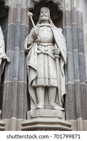 Kosice, Slovakia - gate to St. Elisabeth Cathedral church architecture detail. Statue of Saint Ladislaus.