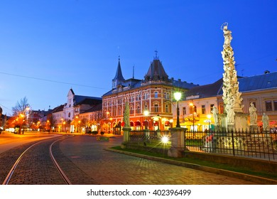Kosice, Slovakia - March 19, 2016: Immaulata statue and Neo-Renaissance Andrassy Palace in the main square of Kosice city in eastern Slovakia.