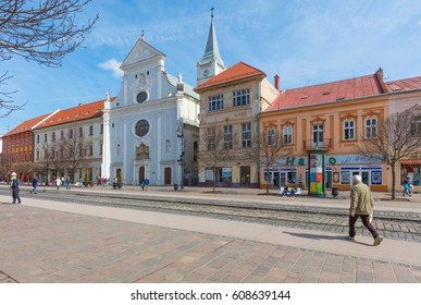 KOSICE, SLOVAKIA - MARCH 25, 2017: Colorful architecture of the main street of Kosice, the biggest city in eastern Slovakia. It was the European Capital of Culture in 2013