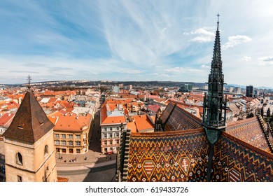 KOSICE, SLOVAKIA - MARCH 25, 2017: Fisheye view of downtown of Kosice (Kassa). Kosice is the 2nd largest city in Slovakia with 555,800 people living in metro area.