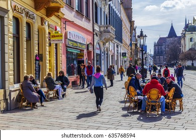 KOSICE, SLOVAKIA - MARCH 25, 2017 - The historic city center on Kosice, Slovakia. Kosice is the 2nd largest city in Slovakia with 555,800 people living in metro area.