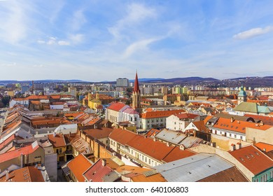 KOSICE, SLOVAKIA - MARCH 25, 2017: View to Elizabeth street and Kosice city center from the top of Saint Elizabeth Cathedral, Kosice, Slovakia