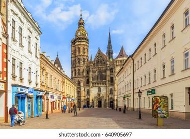 KOSICE, SLOVAKIA - MARCH 25, 2017: St. Elizabeth Cathedral, Kosice, East Slovakia
